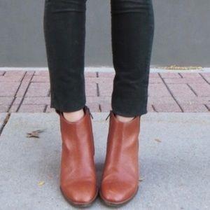Madewell Cognac Leather Billie Booties